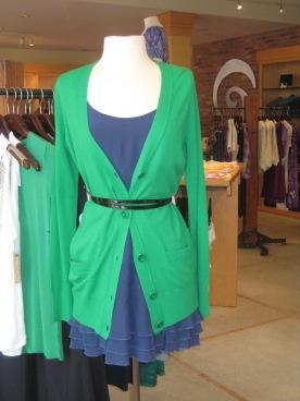 Flounce Hem Mini Dress with Vince Long Sleeve Cardi in Green Pepper