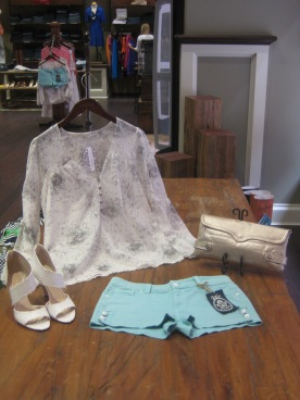 Anlo Dita Hot Shorts and Twelfth Street by Cynthia Vincent Long Sleeve Button Front Floral Blouse