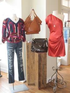 Diane von Furstenberg Dacey Top in Matchstick and Hava Dress in Warm Rust