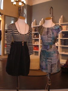 Ali Ro Stripe Combo Dress in Black and Cap Sleeve Dress in Pewter