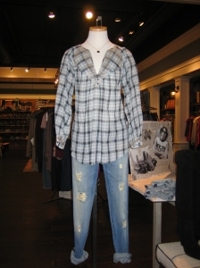 Rebecca Taylor Plaid Top and Current/Elliott The Skinny Jeans in Wish Well Destroy