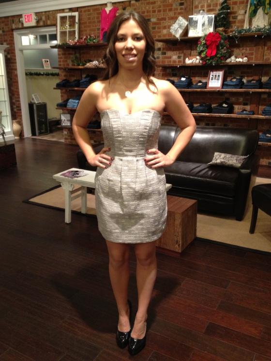 Haley is wearing: Greylin, Sullivan Dress in Silver, $150.