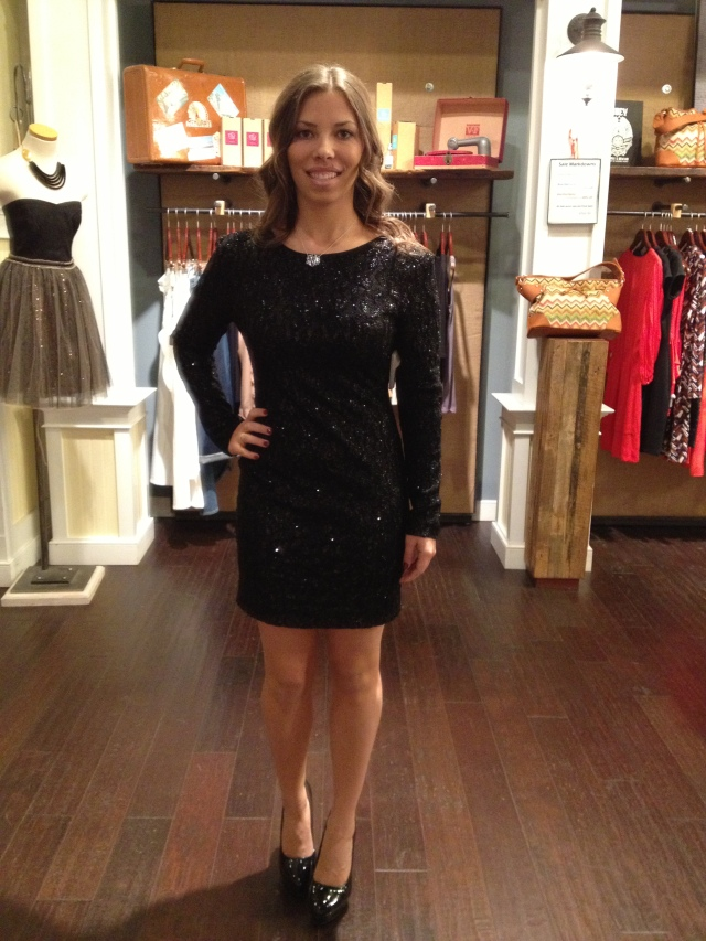 Haley is wearing: MM Couture, Sequin Dress in Black, $108.