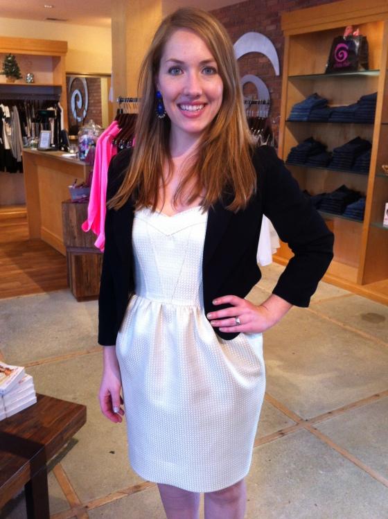 Jen is wearing: Shoshanna, Tristen Dress in Gold, $340