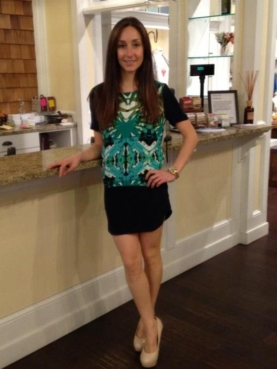 Sarah is wearing: Sam + Lavi, Belem Tunic Dress in Paradise Green, $168.
