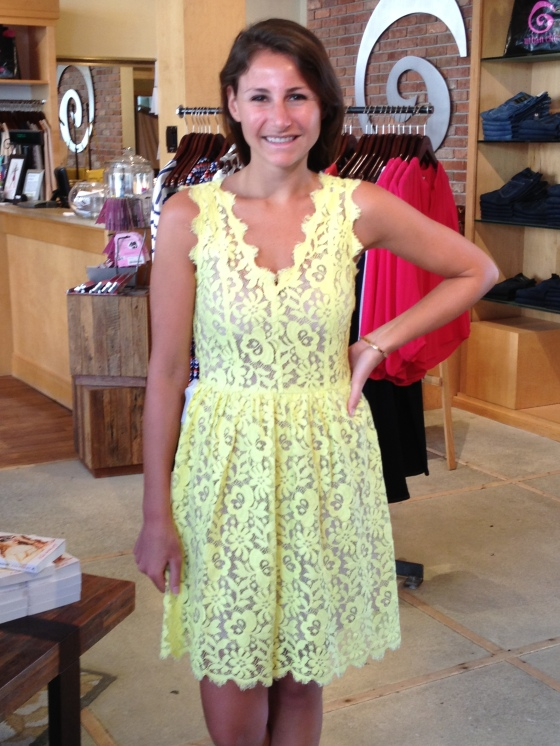 Hilly is wearing: Madison Marcus, Lace V-Neck Dress in Lemon, $343.