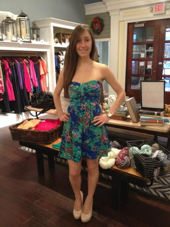 Sarah is wearing: Parker, Strapless Dress, $253.