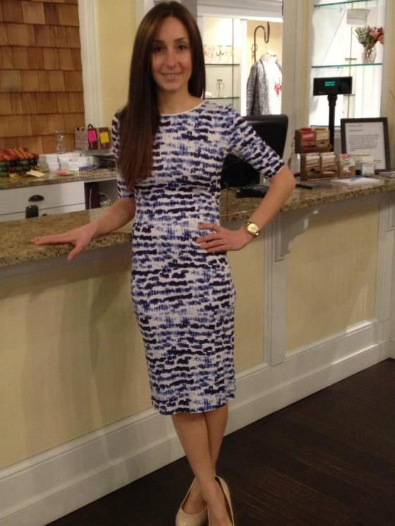 Sarah is wearing: Sam + Lavi, Vera Dress in Brush Stroke, $150.