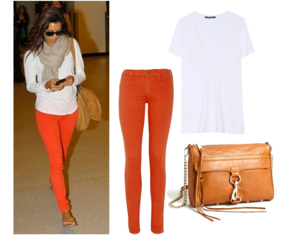 Left: James Jeans, Midrise Twiggy in Coral, $145; Top Right: Velvet, Devan Sheer Back Tee, $84; Bottom RIght: Rebecca Minkoff, Mini Mac in Almond, $295.