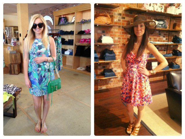 Sloan is wearing: Shoshanna, Louise Dress in Waterlily, $360. Available at Urban Chic Georgetown. Sarah is wearing: Shoshanna, Indi Dress in Magnolia Gardens, $395. Available at Urban Chic Baltimore.