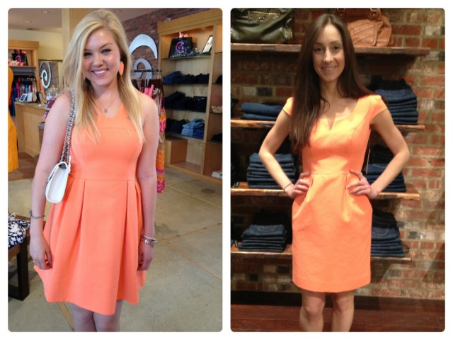 Sloan is wearing:  Shoshanna, Melaney Dress in Orange, $410.  Available at Urban Chic Georgetown. Sarah is wearing: Shoshanna, Evan Sheath Dress in Orange, $395. Available at Urban Chic Baltimore.