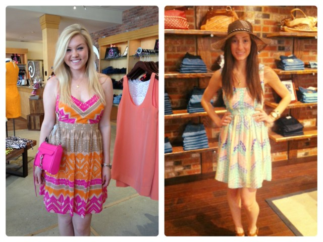 Sloan is wearing: Trina Turk, Gypsum Dress in Cactus Flower, $348. Available at Urban Chic Georgetown.  Sarah is wearing: Shoshanna, Seeley Dress in Toulouse, $385. Available at Urban Chic Baltimore.