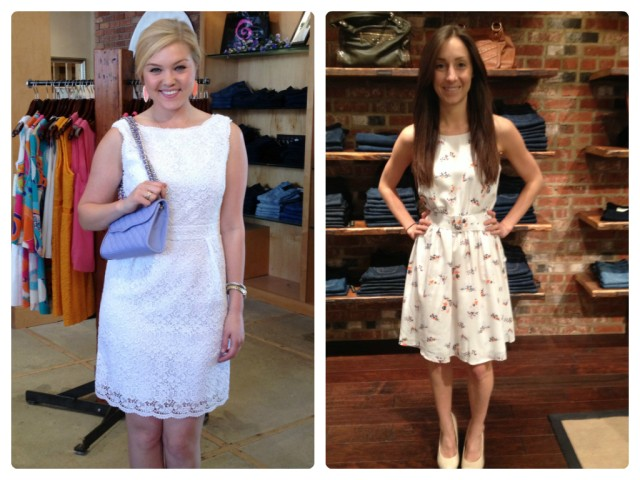 Sloan is wearing: Shoshanna, Lace Nyla Sheath in White, $418. Available at Urban Chic Georgetown. Sarah is wearing: Joie, Aragon Dress in Porcelain, $318. Available at Urban Chic Baltimore.