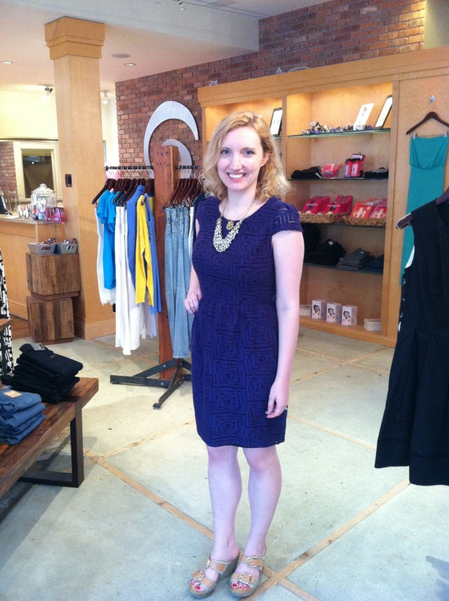 Mollie is wearing: Shoshanna, Shoshanna, Antonia Dress in Navy Lace, $375.