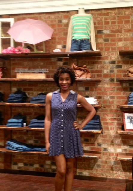 Tyler is wearing: Mink Pink, Shirtdress, $83.00.