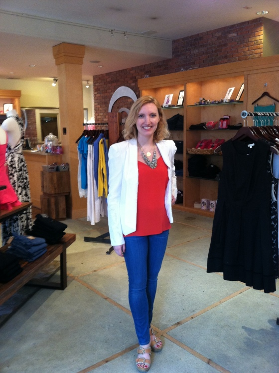 Mollie is wearing: Tibi, Cami in Red, $158; Rebecca Minkoff, Becky Jacket in Chalk White, $328; Citizens of Humanity,  Thompson Skinny Jeans in Aura, $196.