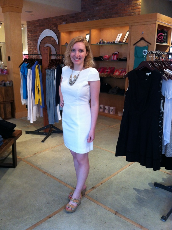 Mollie is wearing: Tibi , Cap Sleeve Dress in Ivory, $375.